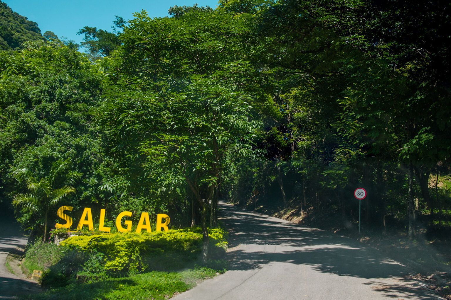 The turnoff from the highway to Salgar, where GCC's farms are located.